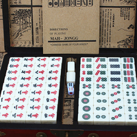 Portable Mini Mahjong Set Table Board Game Traveling Game Chinese Antique Mahjong Chinese Funny Family Indoor Entertainment