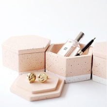 Hexagon Shape Jewelry Box Concrete Silicone Molds Geometric Gypsum Plaster Stora