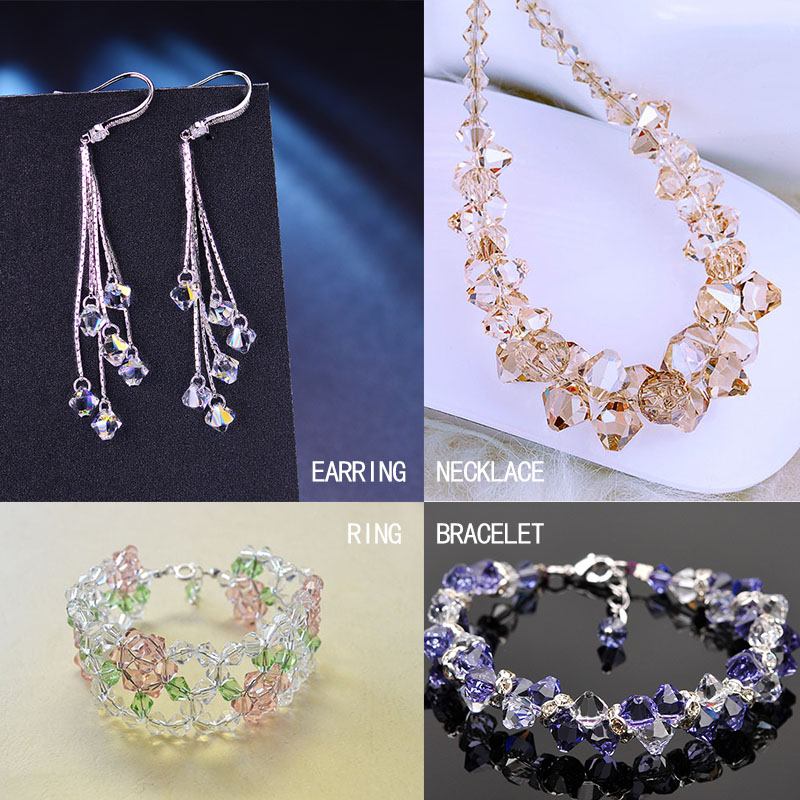 Wholesale 4mm Bicone Faceted Crystal  Jewelry Findings Glass Loose Spacer Beads