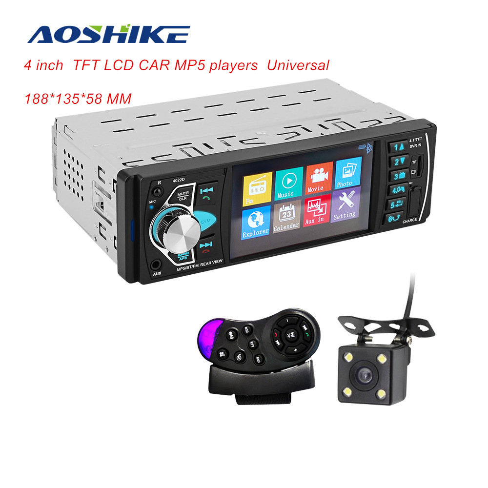 AOSHIKE Car HD 4.1'' Bluetooth MP5 Player Reversing Priority Car Radio Card Machine With Steering Wheel Remote For Ford/BMW/VW