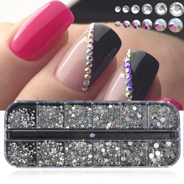 12 grilles boîte brillant cristal AB ongles strass dos plat paillettes bijoux breloque diamant Nail Art décoration