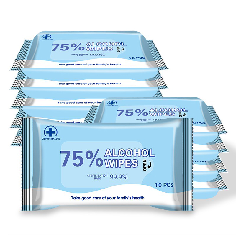 100Pcs/Set 75% Alcohol Wipes Portable Wet Wipes Antibacterial Sterilization Alcohol Wipes Skin Cleaning Care First Aid Cleaning