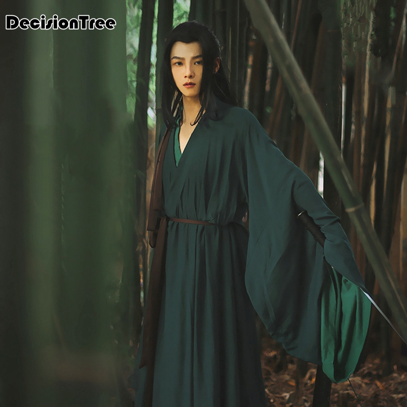 2020 Hanfu V Collar Chinese Style Hanfu Men Cosplay Hanfu Green Hanfu Hanfu Dalam Tv Chinese Song Ming Dynasty Ancient Custom