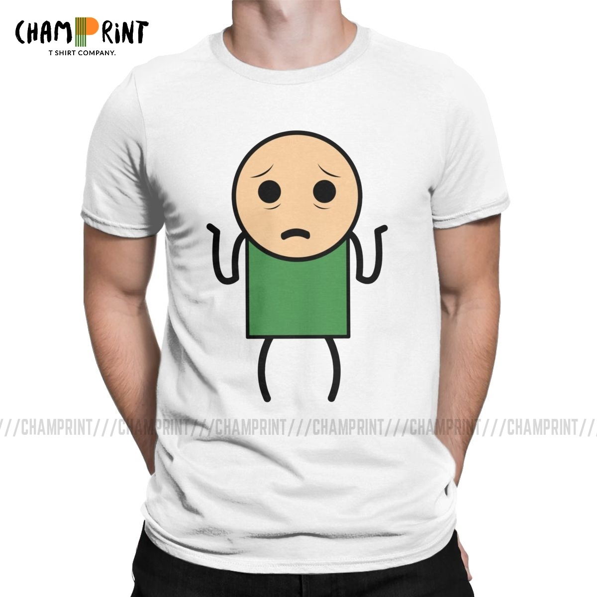 Confused Stick Man Men's T Shirts The Cyanide & Happiness Show Unique Tees Short Sleeve T-Shirts Cotton Gift Idea Clothes image