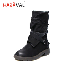 HARAVAL Winter Handmade Ankle Boots Comfortable Genuine Leather Retro Round Toe Low Heel Shoes Fashion Buckle Zipper Boots  B231 england style mens genuine leather cow low heel matin boots winter retro motorcycle boots male ankle shoes lacets chaussures