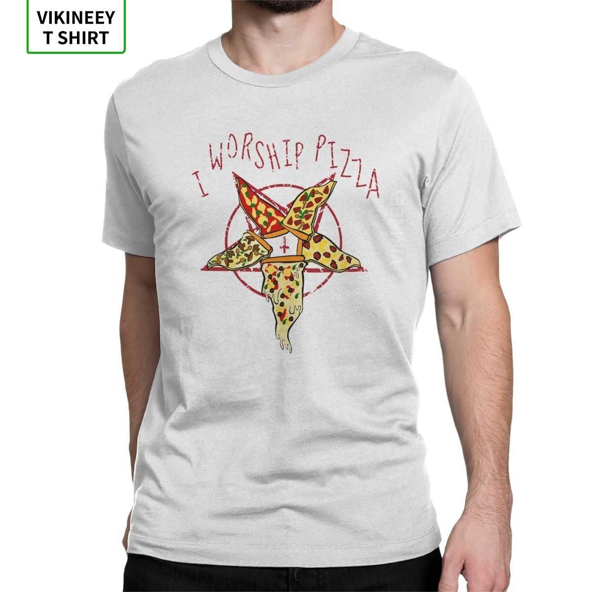 I Culto Pizza Pentagram Maglietta Degli Uomini Satanico Satana Diavolo Inferno Demone Skull Divertente In Cotone Scuro Magliette T Shirt A Manica Corta nuovo