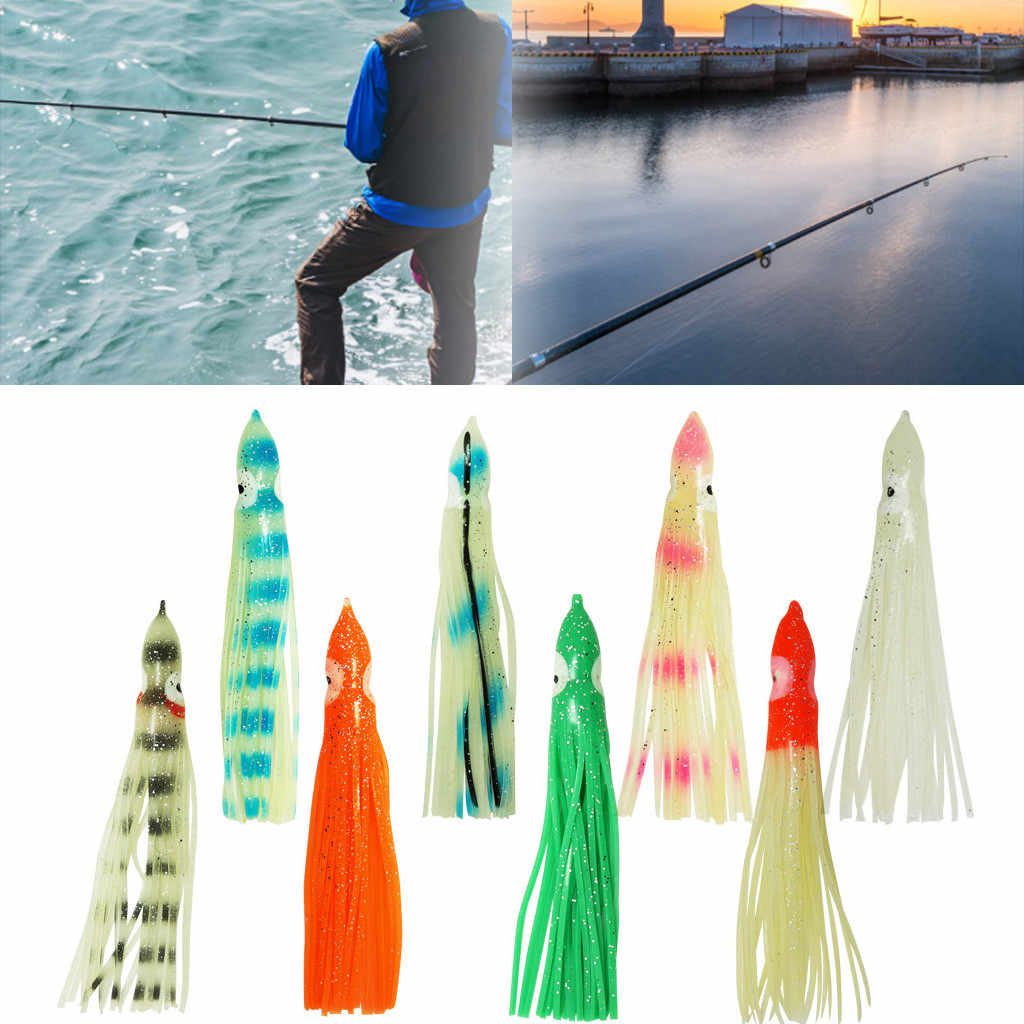 5 piezas pesca en agua salada calamar pulpo faldas pesca. Resplandor luminoso cebo suave calamar falda pesca mar Señuelos de Pesca # D