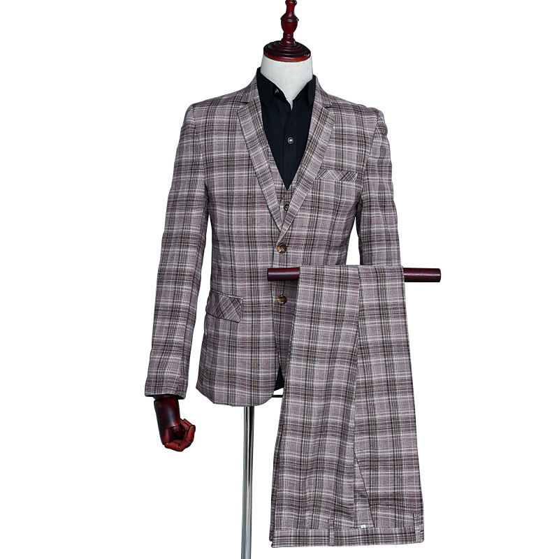 Coffee Plaid Three-piece Suit Business Men's Clothing Business Wedding Party Dating