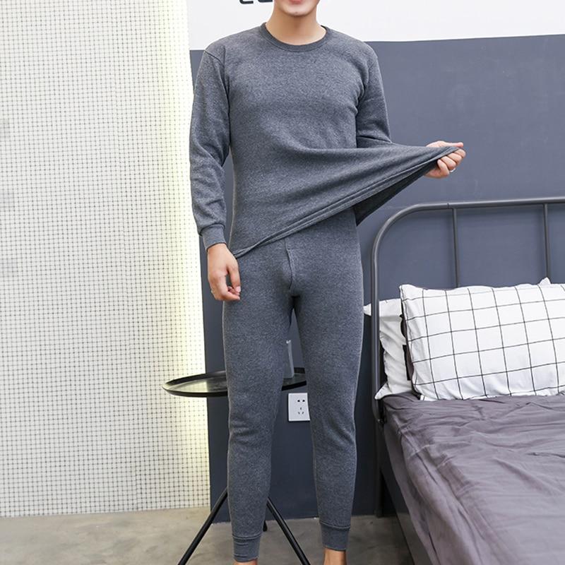 2pcs Men's Winter Thermal Underwear Suit Circular Collar Large Size Long Sleeve Pure Color Warm Clothing Set Top + Pants