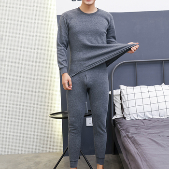 2pcs Men's Winter Thermal Underwear Suit Circular Collar Large Size Long Sleeve Pure Color Warm Clothing Set Top + Pants