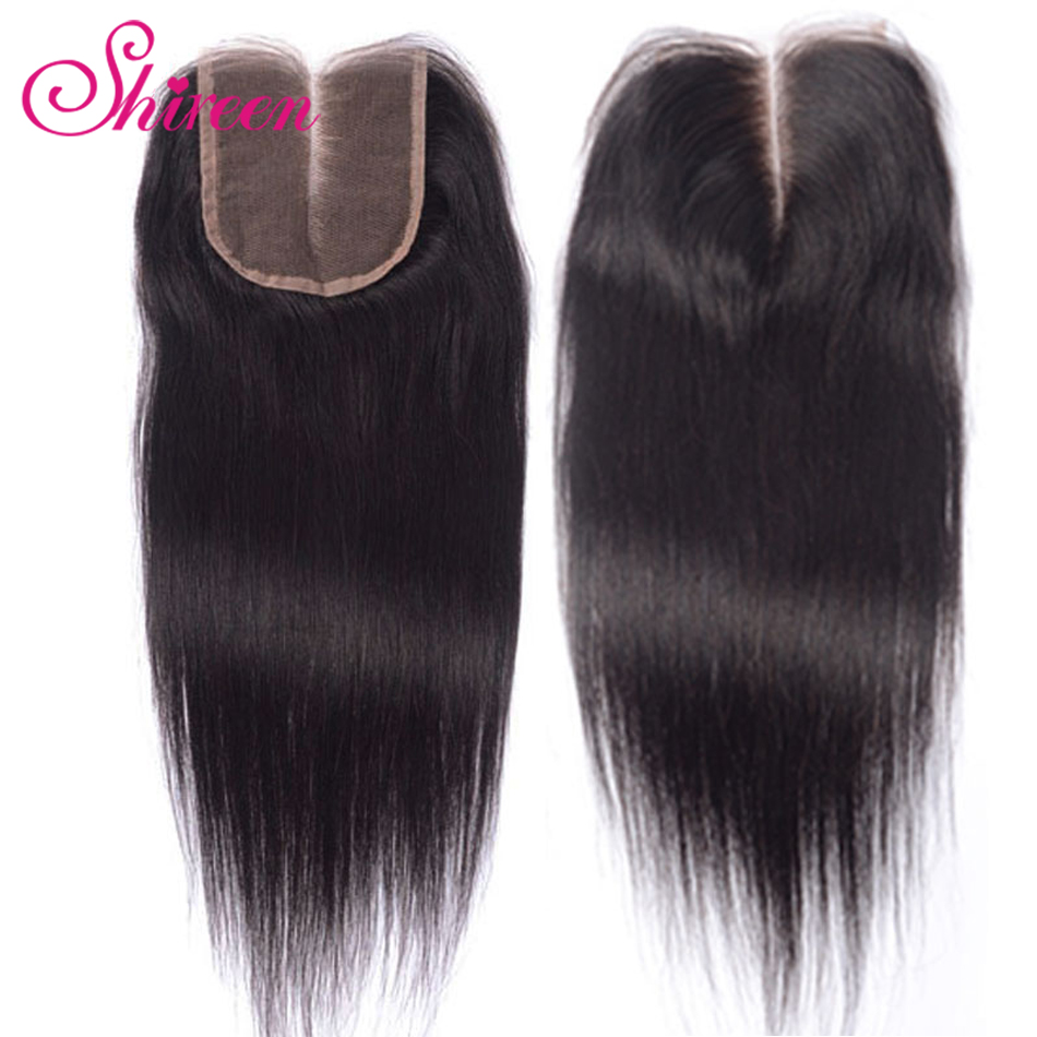 Shireen Hair 4 X 4 Brazilian Closure Straight Human Hair Free/Middle/Three Part 100% Remy Lace Closure 8-20 Inch Natural Color
