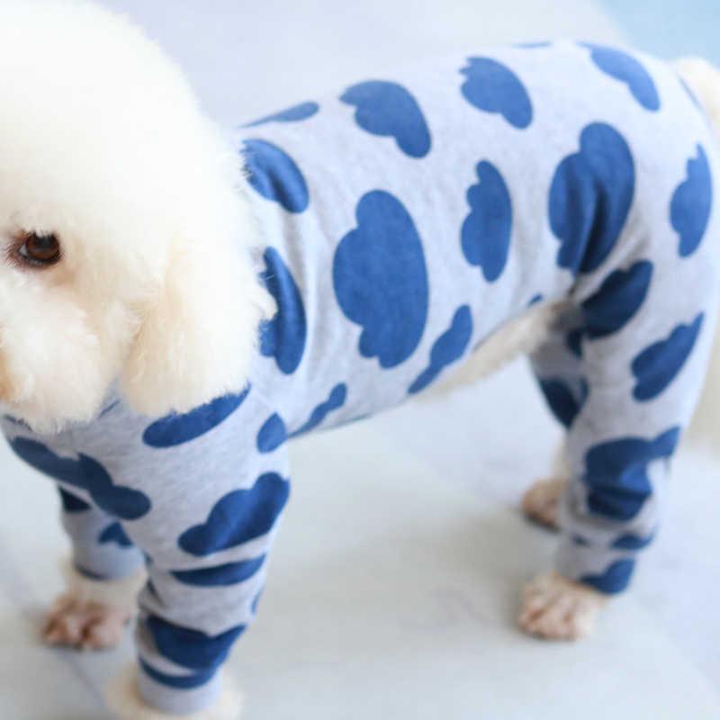 Kombinezon dla psa cienki strój dla szczeniaczka elastyczny bawełniany kombinezon z długim rękawem dla małych psów piżama Outdoor bluza Chihuahua mops