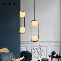 Luzes Pingente Bola De Vidro nórdico Único Anel de Ouro Pendurado Luminárias Lua Modern Kichen Luz Da Lâmpada para Sala de estar Em Casa deco|Luzes de pendentes| |  -