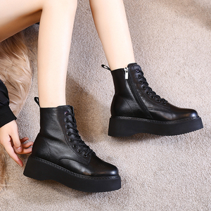 Image 4 - Women Boots Natural suede leather Ankle Boots flat Platform Boots Fashion zipper Thick bottom Black Ladies Shoes