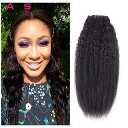 Волосы Alishow Kinky Striaght клип в человеческих волос расширение 120 г натуральные волосы производства Бразилии в зажимы полная голова волосы remy