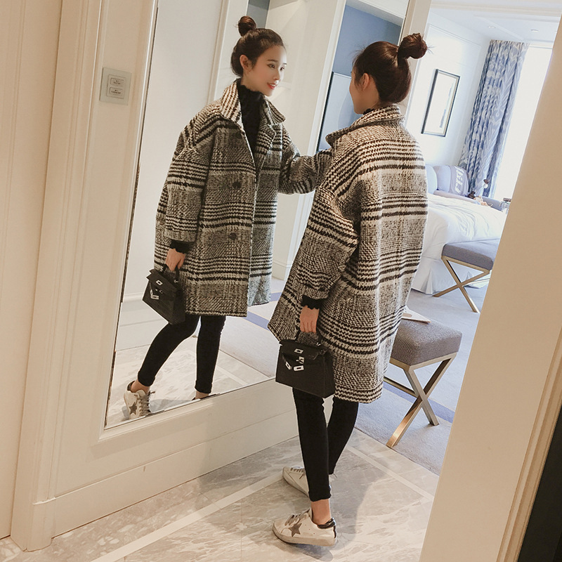 Winter Woman Coats 2019 Autumn And Winter New Woolen Coat Korean Version Of The Plaid In The Long Coat Large Size Female Jacket
