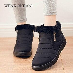 Image 3 - Зимние ботинки; Женские водонепроницаемые ботильоны; Зимние теплые ботинки с искусственным мехом; Повседневная женская обувь на плоской подошве; Botas Mujer Invierno