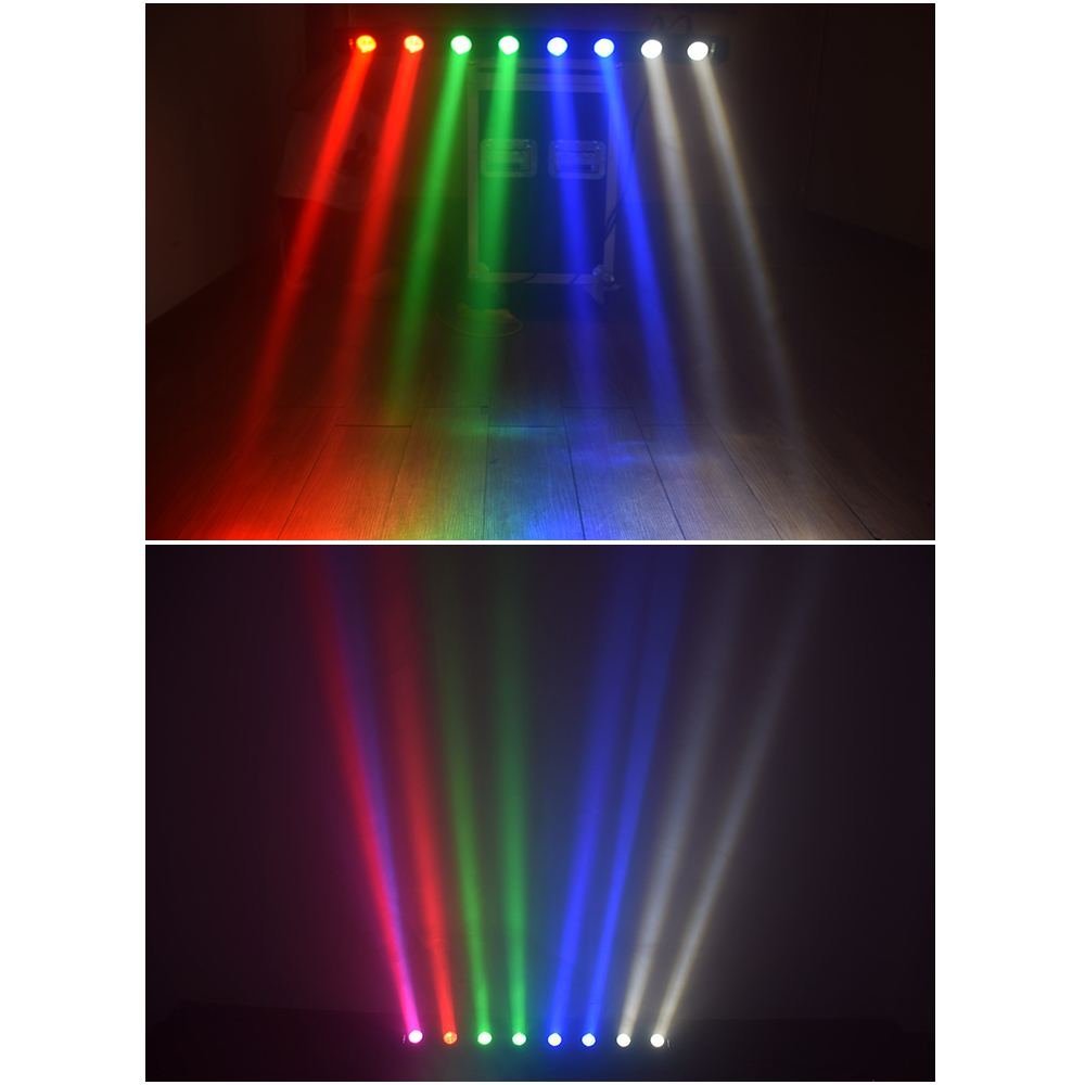 dj light 8x12W RGBW 4in1 Beam LED Moving Head DMX Stage Lights professional lighting equipment with flight case (2pcs/lot) - 5
