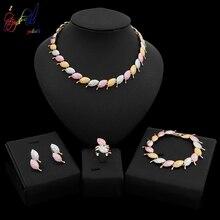 Yulaili Trendy Tricolor Leaves Shape Choker Necklace Stud Earrings Bracelet Ring African  Nigeria Wedding Bridal Jewelry Sets