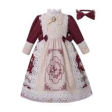 Платье с цветочной кружевной вышивкой для девочек, винтажное длинное свадебное платье с головной убор для детей, 2020