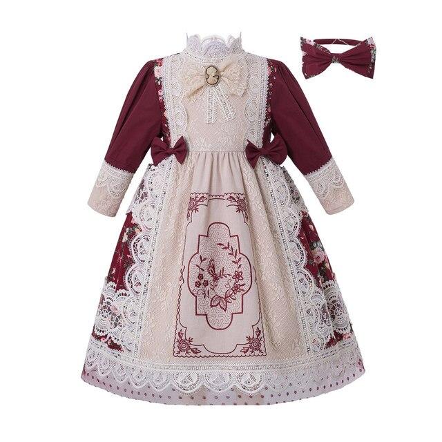 Pettigirl vestido largo clásico de chica de la boda, bordado de encaje floral, con tocado, G DMGD210 281 para niños, 2020