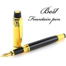 New Fountain Pen Meduim Nib Metal Plastic Golden Black Color Sign Pens and Elegant Upscale Golden Roller Ball Pen free shipping