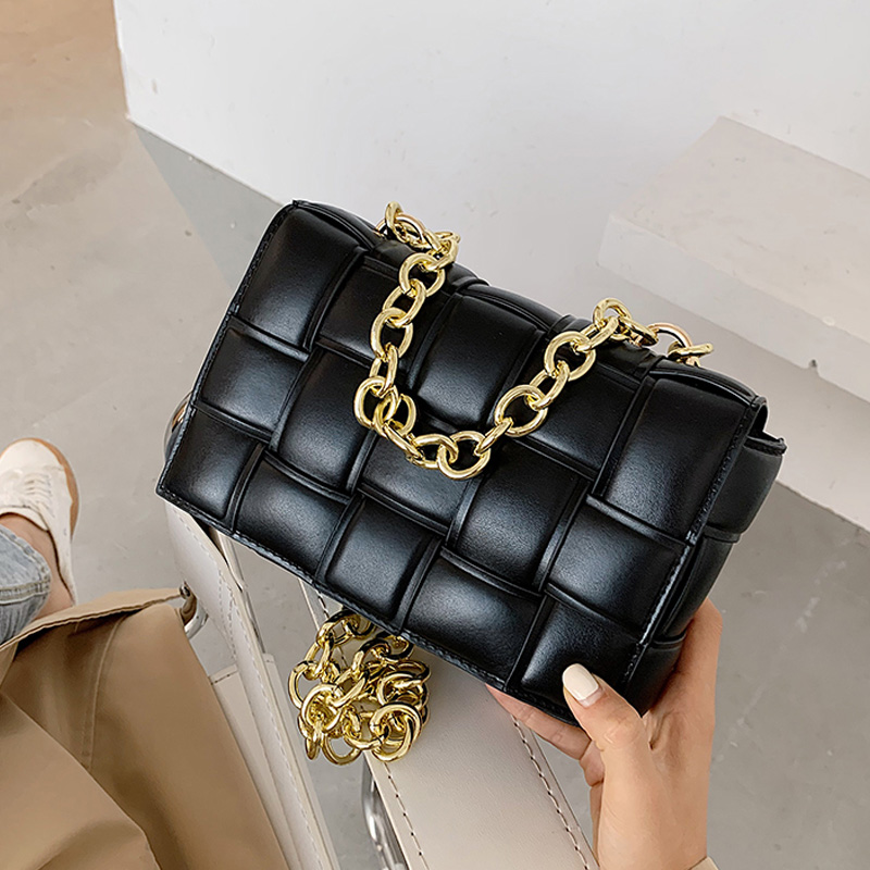 Luxury Women's Shoulder Bags Weave Leather Flap Bag For Women 2020 New Brand Designer Handbags Thick Chain Crossbody Bags Female Shoulder Bags  - AliExpress
