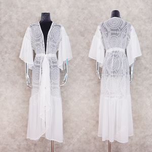 Image 5 - 2020 New Bikini Cover ups Sexy Belted Summer Dress White Lace Cotton Tunic Women Plus Size Beach Wear Swim Suit Cover Up Q1049