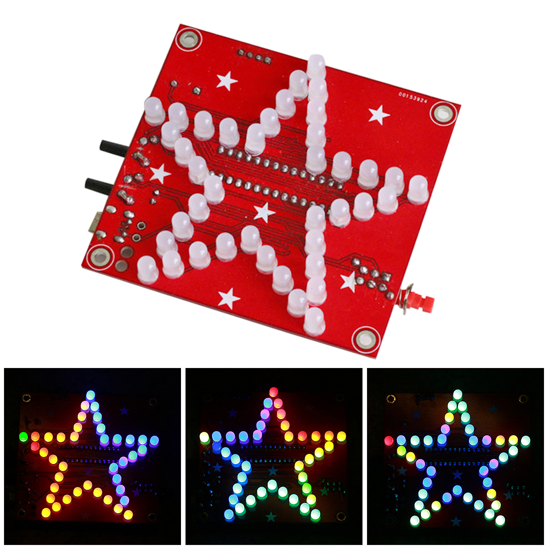 DIY Welding Electronic Bulk Parts Colorful Music Five-Pointed Star LED Light Kit With 5mm Frosted Lamp Beads And Shell For Child