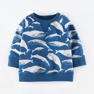 Little maven 2019 autumn new baby boy brand clothes toddler kids whale print t shirt boys blue long sleeve tops 51535(China)