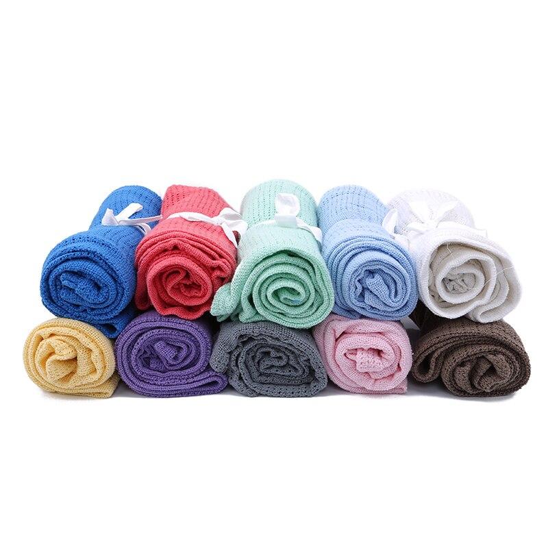 Hot Newborn Baby Blankets Super Soft Cotton Crochet Summer 90cmX70cm Candy Color Prop Crib Casual Sleep Bed Supplies Hole Wrap
