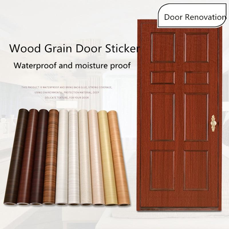 Wood Grain Door Sticker Waterproof Adhesive Wallpaper Wooden Door Renovation Cabinet Furniture Home Decor DIY Wall Mural Decals