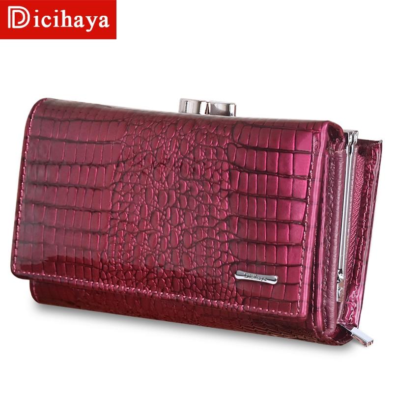 Mini Genuine Leather Women Wallets Alligator Small Hasp Zipper Wallet Ladies Clutch Bag Purse 2019 New Female Luxury Purses