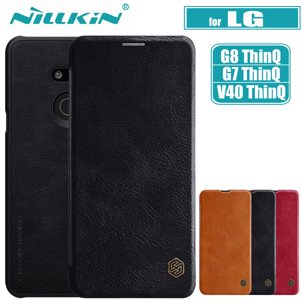 Nilkin for <font><b>LG</b></font> G8 G7 <font><b>V40</b></font> ThinQ <font><b>Case</b></font> Cover Nillkin Genuine Soft PU Full Cover <font><b>Leather</b></font> Wallet Flip <font><b>Case</b></font> for <font><b>LG</b></font> G8 G7 ThinQ G6 Shell image