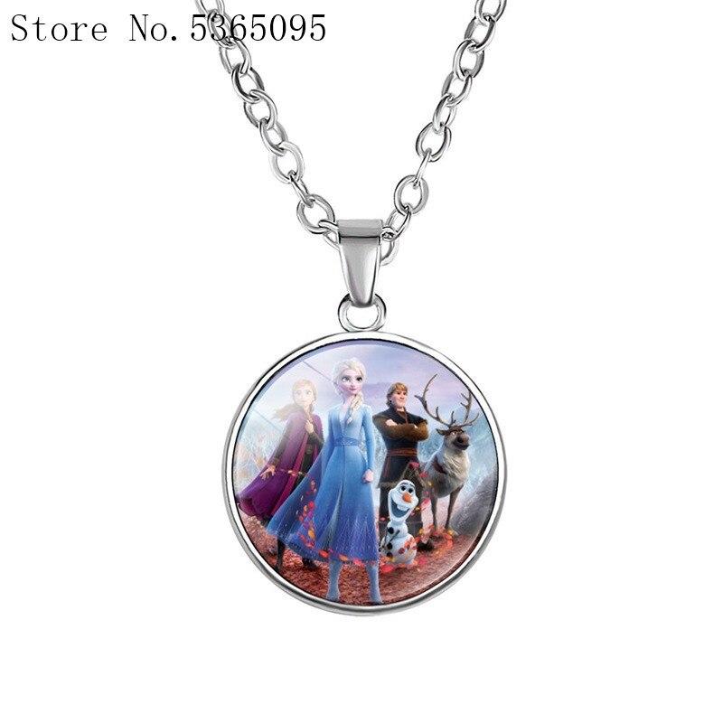 Frozen 2 Necklace Children's Cartoon Elsa Princess Anna Time Gem Pendant Girl Necklace Doll Accessories Disney Girls Present