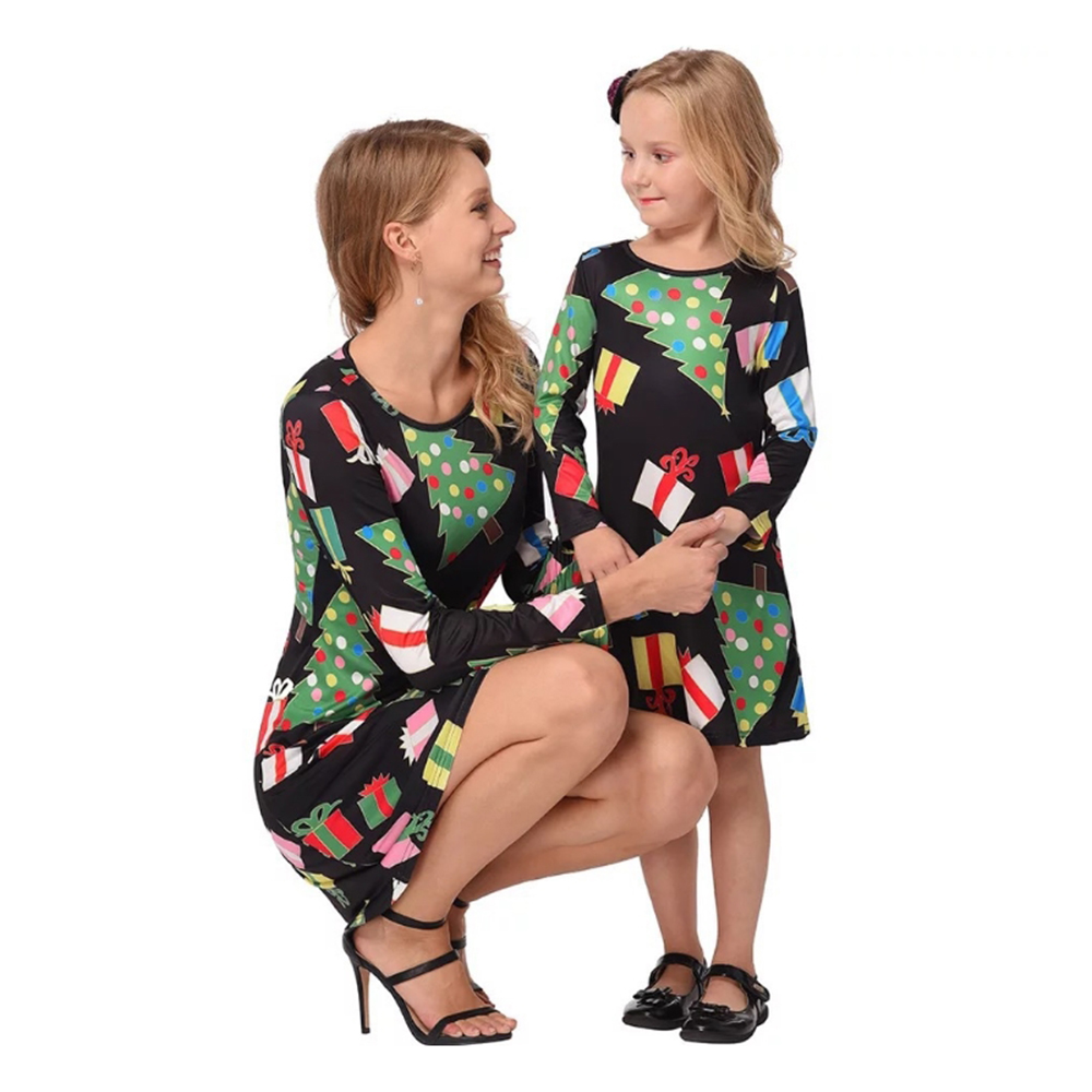 LOOZYKIT Mom And Daughter Dress 2019 New Autumn Christmas Family Matching Clothes Christmas Pajamas Dresses Xmas Clothes