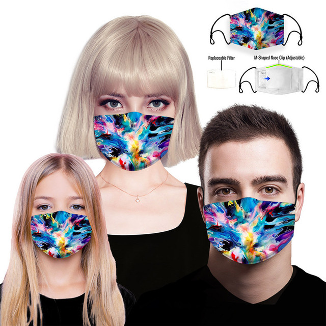 Flamingo Reusable Face Mouth Mask PM2.5 Filter Anti-Dust Fog Pollution Protective Washable Woman Man Kids Flower Cycling Masks 4