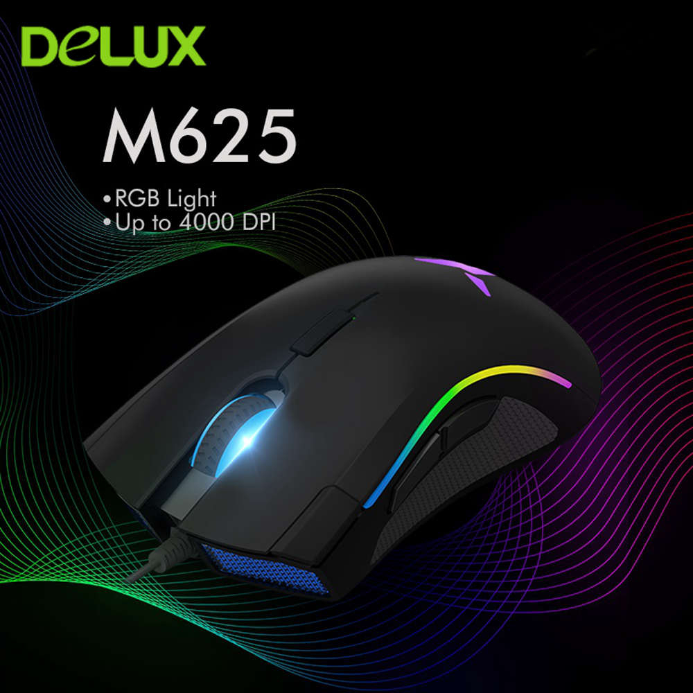Delux M625 A3050 Gaming Mouse Optical Ergonomic Wired Mause RGB Backlight 7 Buttons 4000 DPI Computer Gamer Mice For Laptop PC
