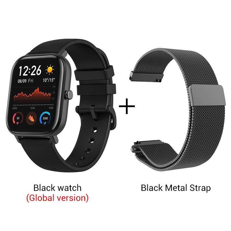 СМАРТ-ЧАСЫ XIAOMI HUAMI AMAZFIT GTS- Выглядит как часы Apple - Цвет: Black n Metal strap