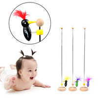 Classic Toy Hot Education on A Stick Retro Woodpecker Vintage Cute Kis'S Hand Game Pole Sliding Colors Baby Toys Pet Supply