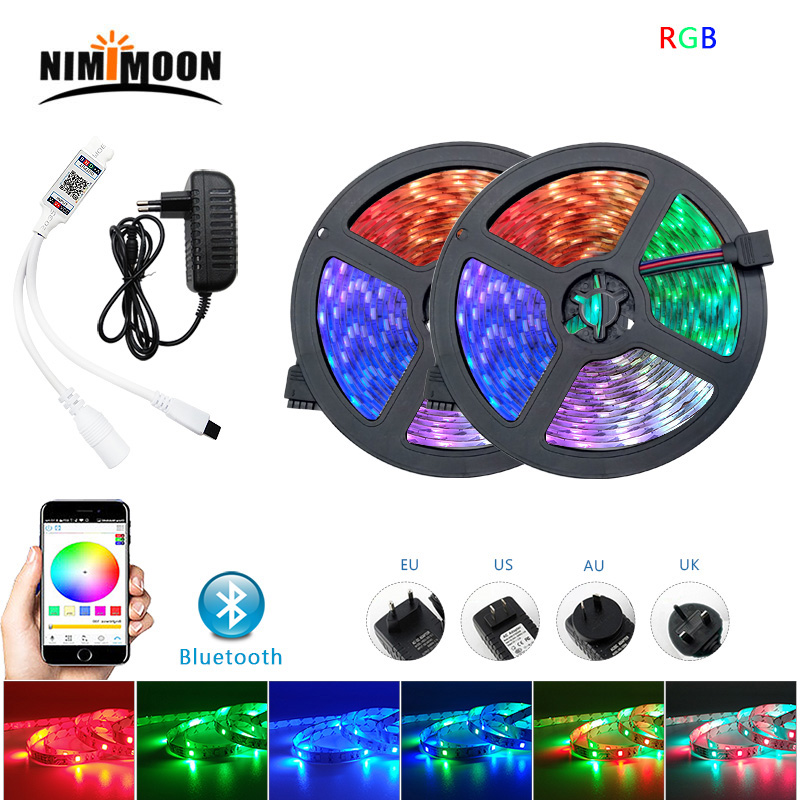 Bluetooth/IR Remote DC12V 2835 LED Strip RGB Led Light Tape SMD Waterproof LED Light 5m/10m/15m/20m Diode Ribbon Home Decoration