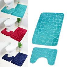 Non slip Комплект ковриков Ванная комната 3d булыжник Туалет