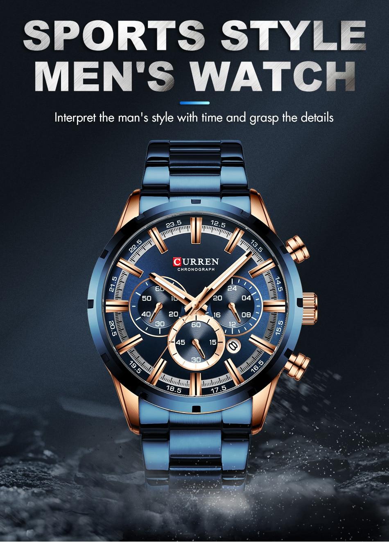 H66466882bf4c455d9fd8d33c3500be7eC CURREN Men Watch Top Brand Luxury Sports Quartz Mens Watches Full Steel Waterproof Chronograph Wristwatch Men Relogio Masculino