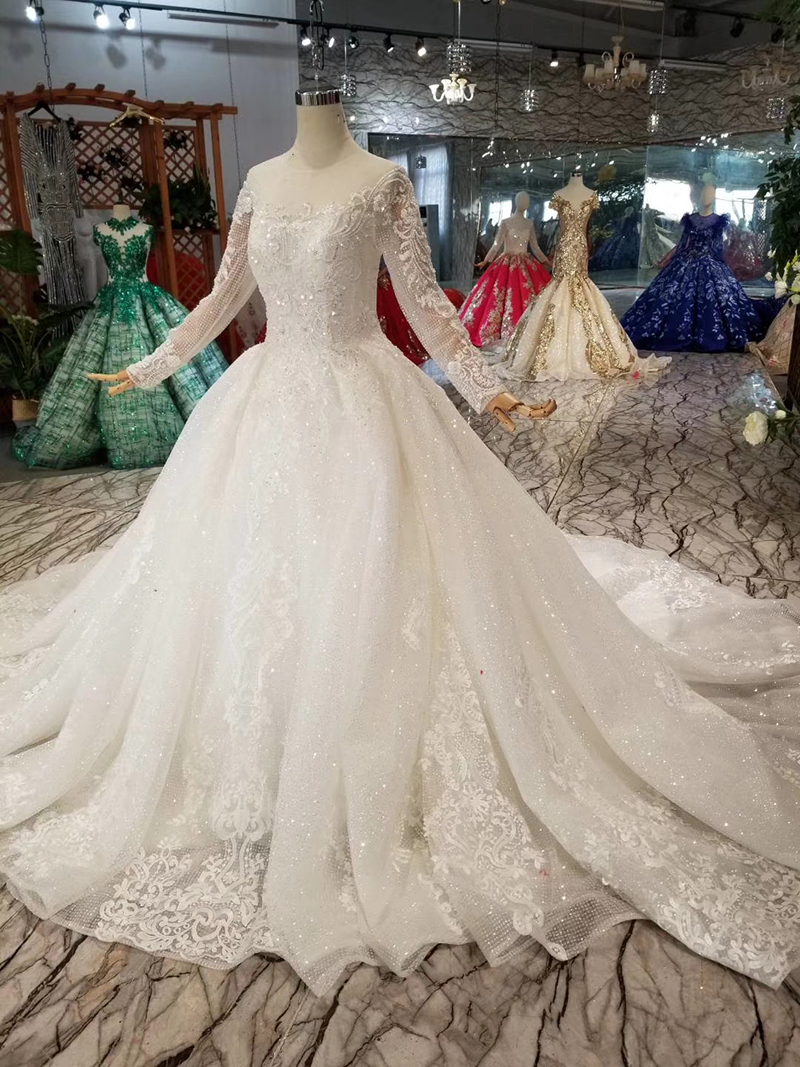 Image 3 - BGW HT42911 Simple Wedding Dress For Girl O neck Long Sleeves Princess Wedding Gowns With Train CasamentoWedding Dresses   -