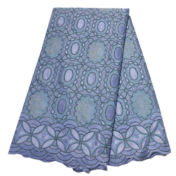 African Swiss Voile Lace In Switzerland Light Blue Lace Fabrics High Quality Lace Nigerian Embroidered Cotton Material For Dress