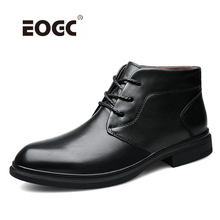 Full Grain Leather Warm Men Boots High Quality Plush Ankle Snow Boots Waterproof Non-slip Autumn Winter Shoes Men недорого