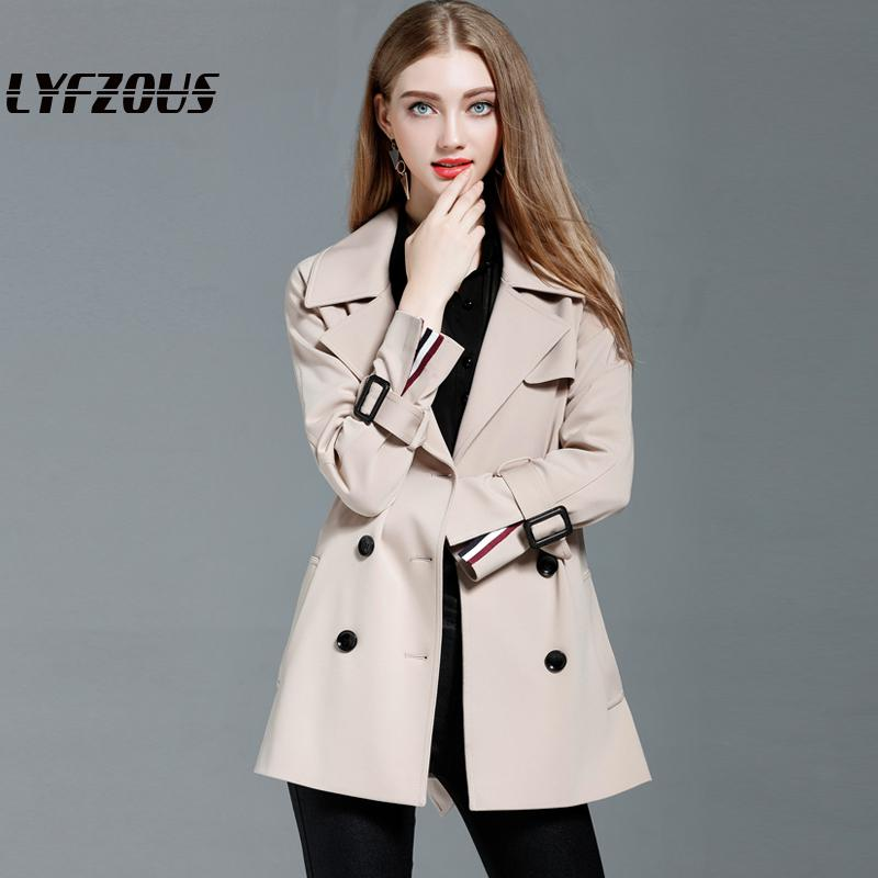 2019 New Trench Coat For Women Fashion Double Breasted Slim Short Wind-breaker Female Outwear Trench With Belt Top Clothing