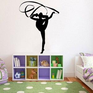 Ginástica adesivos de parede vinil decoração para sala menina exercício exercício esporte porta janela adesivo gym training room decoração z762