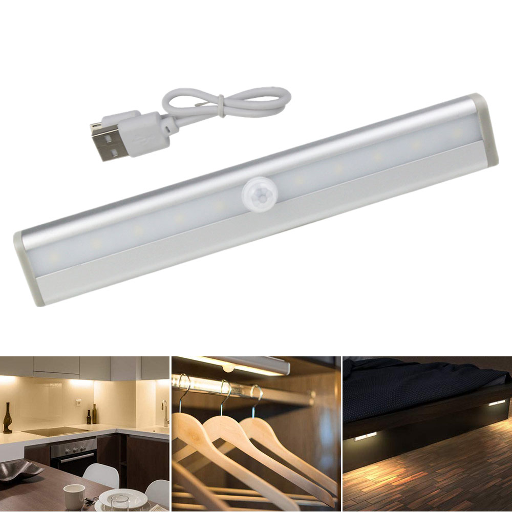 10 LEDs Wireless LED Cabinet Light USB Rechargeable Or Battery PIR Motion Sensor Led Night Light For Wardrobe Closet Kitchen
