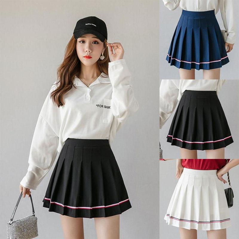 Women Short Pleated Striped Cute Slim Fit High Waist Preppy Style Empire Skirts Girls Fashion Mini A-line Skirt